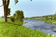 Photograph of the Missisquoi River at East Berkshire, VT (EBKV1) looking downstream