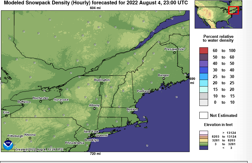 NERFC Snow Page - Us snowpack map