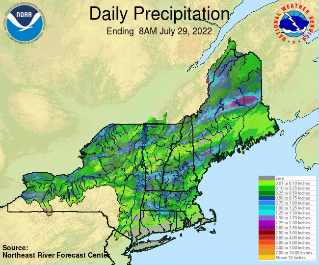 Daily Precipitation Graphic for the most recently past Friday