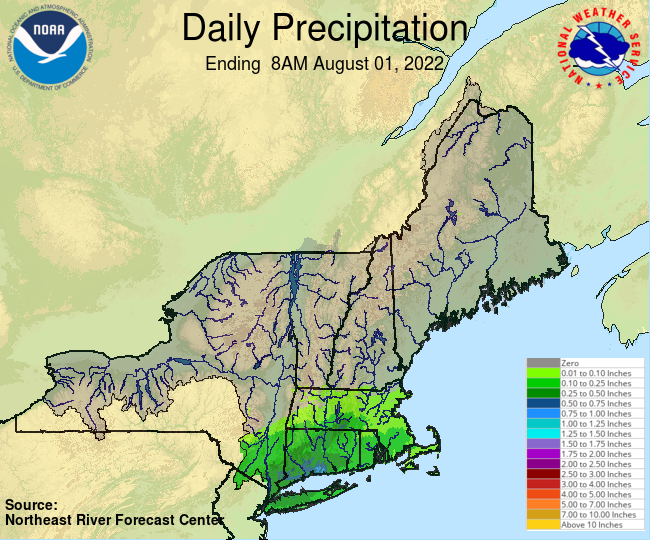Daily Precipitation Graphic for the most recently past Monday