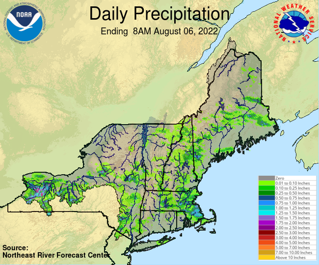 Daily Precipitation Graphic for the most recently past Saturday
