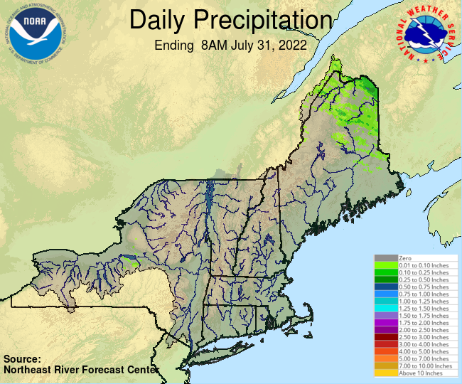 Daily Precipitation Graphic for the most recently past Sunday