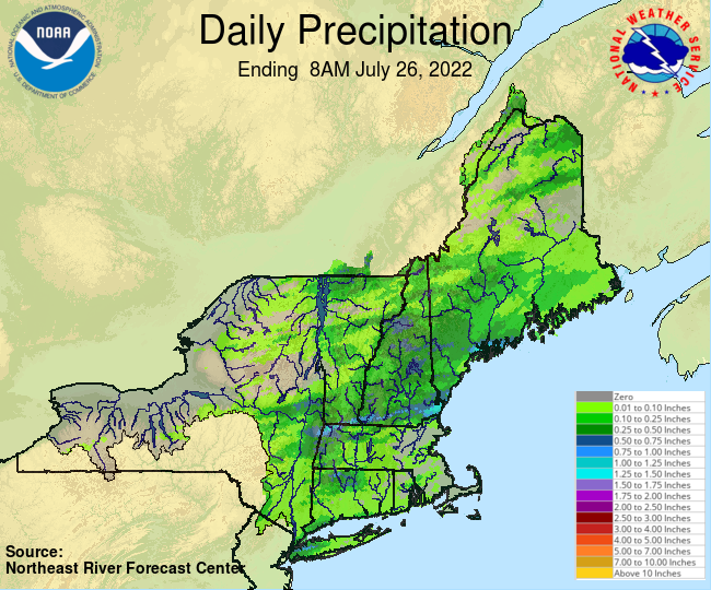 Daily Precipitation Graphic for the most recently past Tuesday