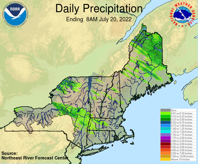 Daily Precipitation Graphic for the most recently past Wednesday