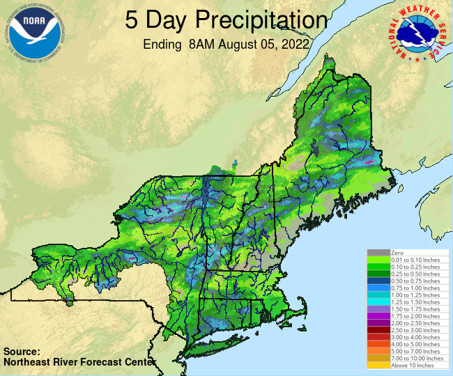 NERFC 5Day Gage Precipitation Graphic