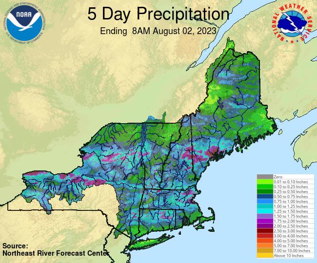 NERFC 5Day Gage Precipitation Graphic