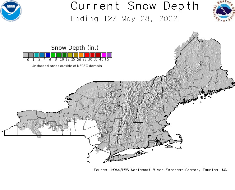 Daily Snowfall Graphic for the most recently past Saturday