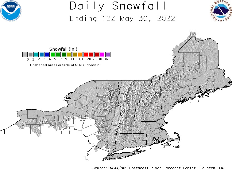 Daily Snowfall Graphic for the most recently past Monday