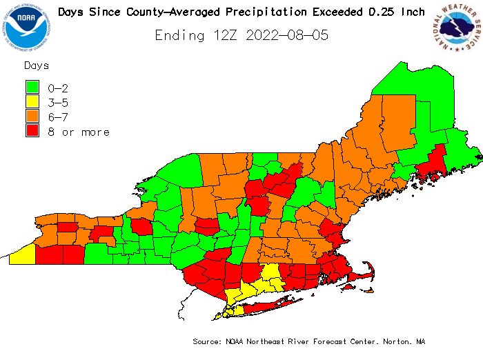 Days Since County-Averaged Precipitation Exceeded One Quarter of an Inch