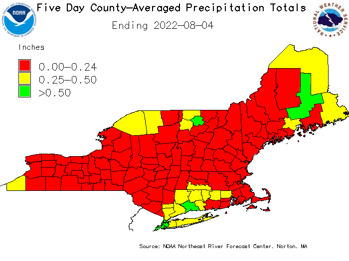 Graphic of county averaged precipitation over the past 5 days.