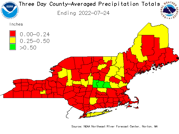 Graphic of county averaged precipitation over the past 3 days.