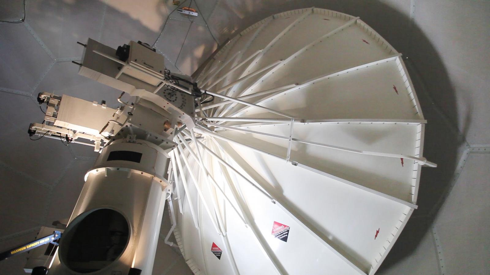 The radar receiving dish inside the protective cover. Dual-pol is both a hardware and software upgrade to the radar.