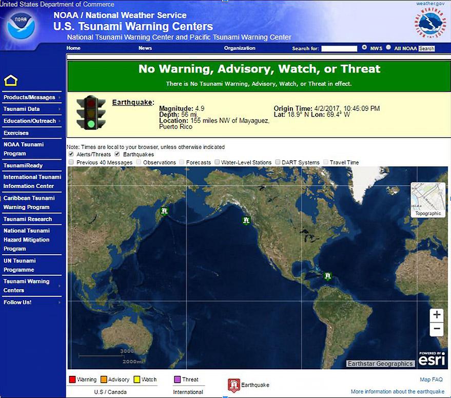 New Tsunamigov Website Represents Major Advance In Tsunami - Us travel warnings map 2017