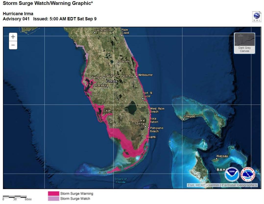A Storm Surge Watch and Warning was issued for both coasts of Florida as Hurricane Irma approached.