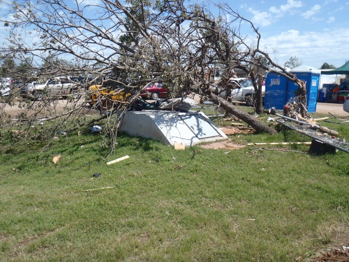 Photo – Several people rode out the tornado in this underground shelter (Shawnee, OK – May 2013)