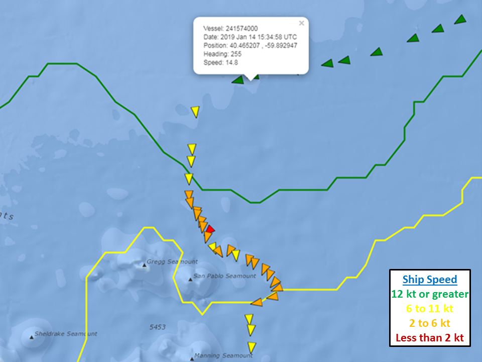 The vessel track shown here illustrates how the ship had to significantly slow while crossing the Gulf Stream due to hazardous wave conditions. Forecasters at NOAA's Ocean Prediction Center and and National Hurricane Center regularly use Global RTOFS to provide accurate and reliable predictions to protect life and property at sea during extreme weather events over open waters.