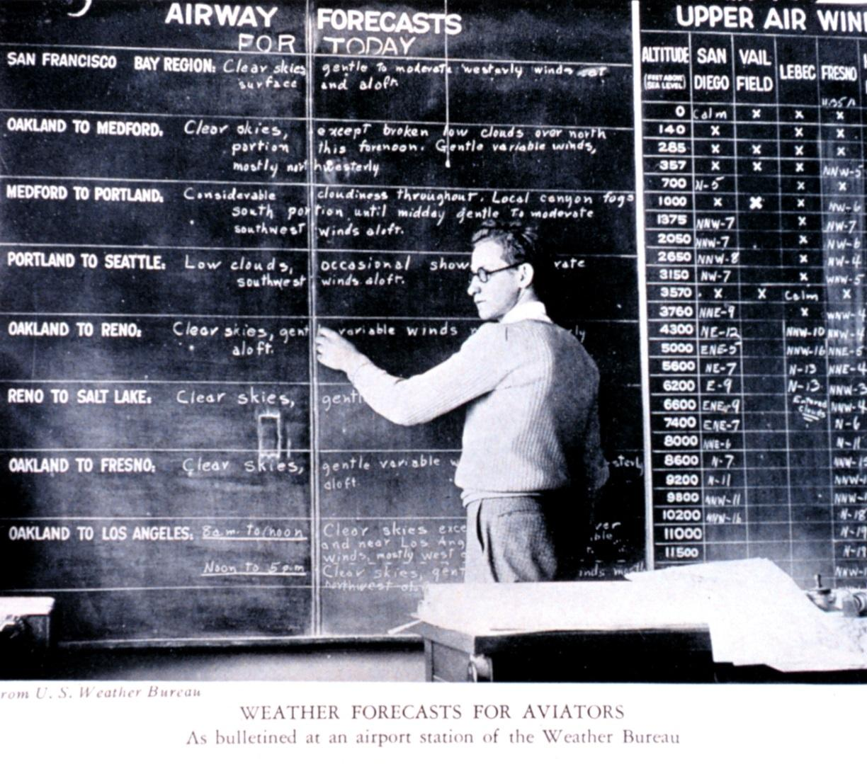 NOAA Library, Regional headquarters meteorologist keeping track of aviation weather, 1975.