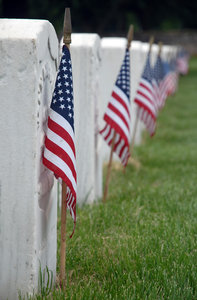 image of flags and tombstones