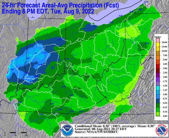 OHRFC 24 hour Day 1 Precip forecast