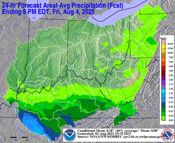 Day 2 24 hour forecast rainfall from OHRFC