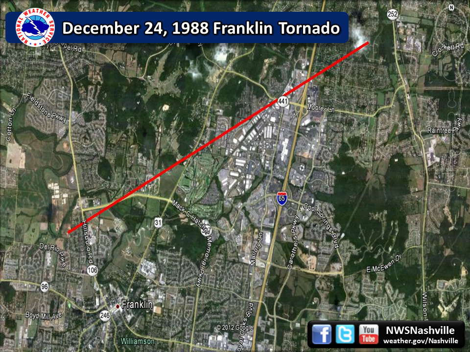 Franklin tornado path