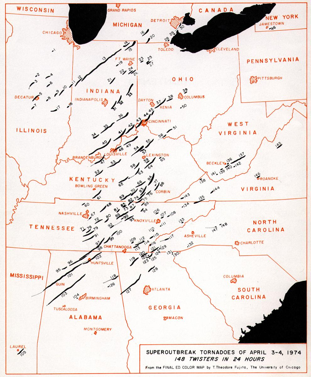 Map of April 3, 1974 Tornado Outbreak
