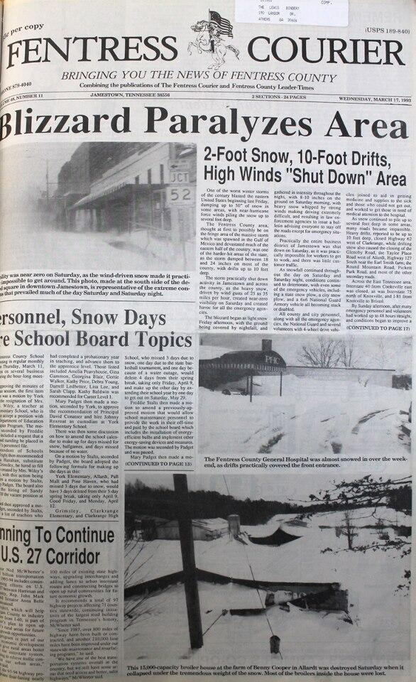 Jamestown newspaper article
