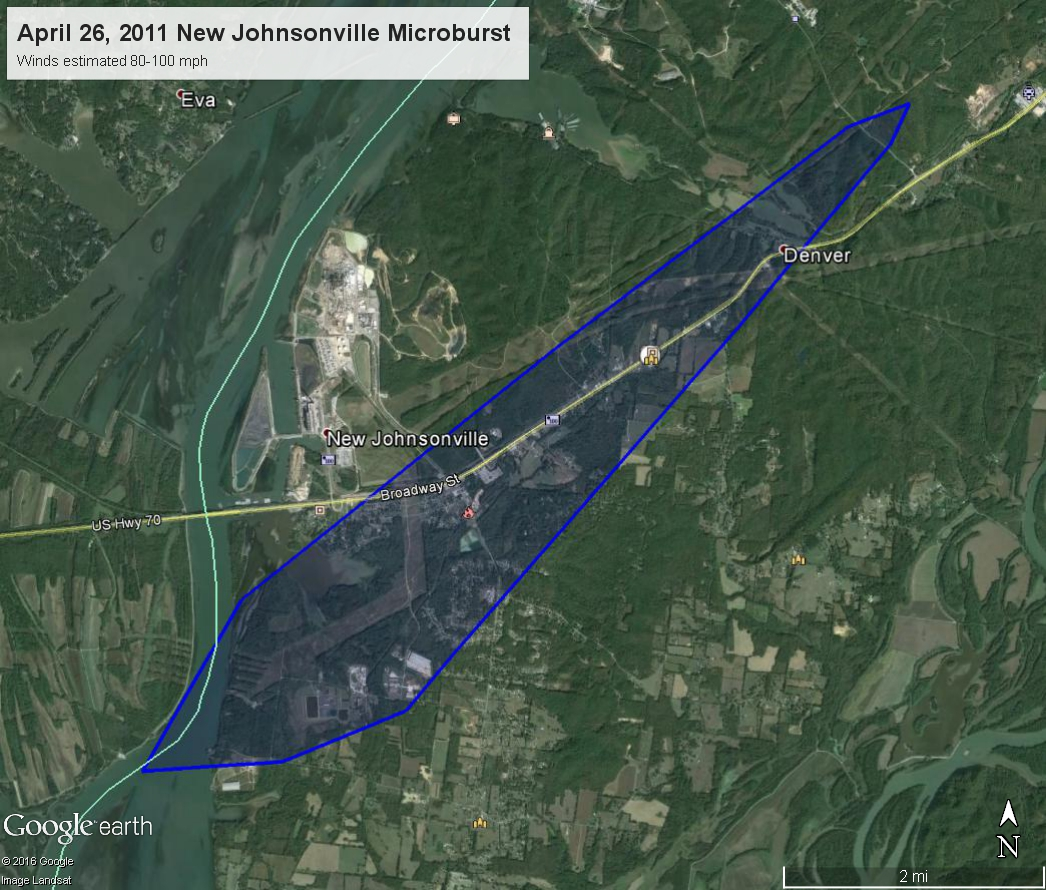 New Johnsonville Downburst map