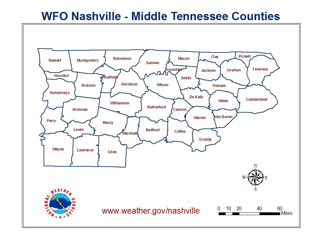 WFO Nashville's County Warning Area - Middle Tennessee