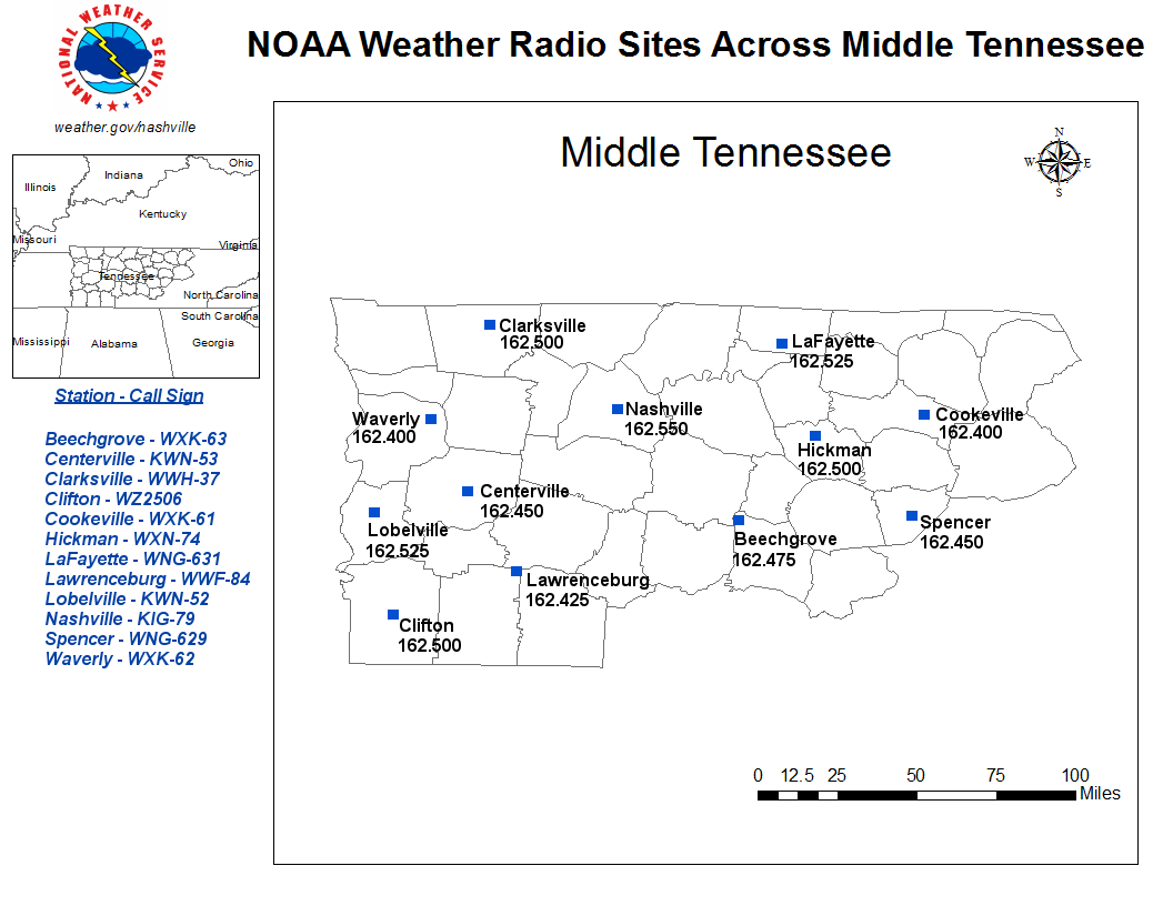 NOAA Weather Radio Sites For Middle Tennessee