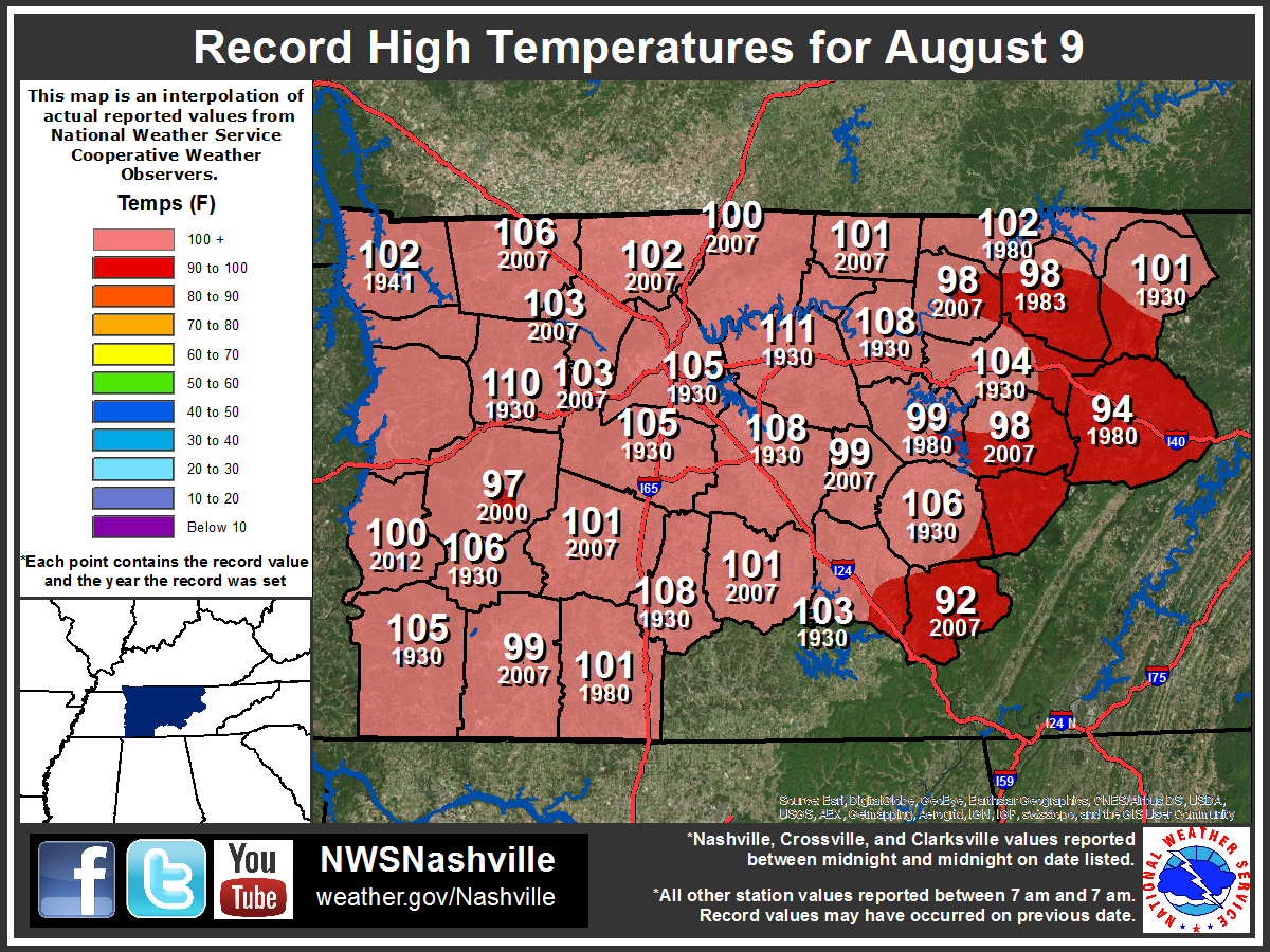 Daily Record High Map