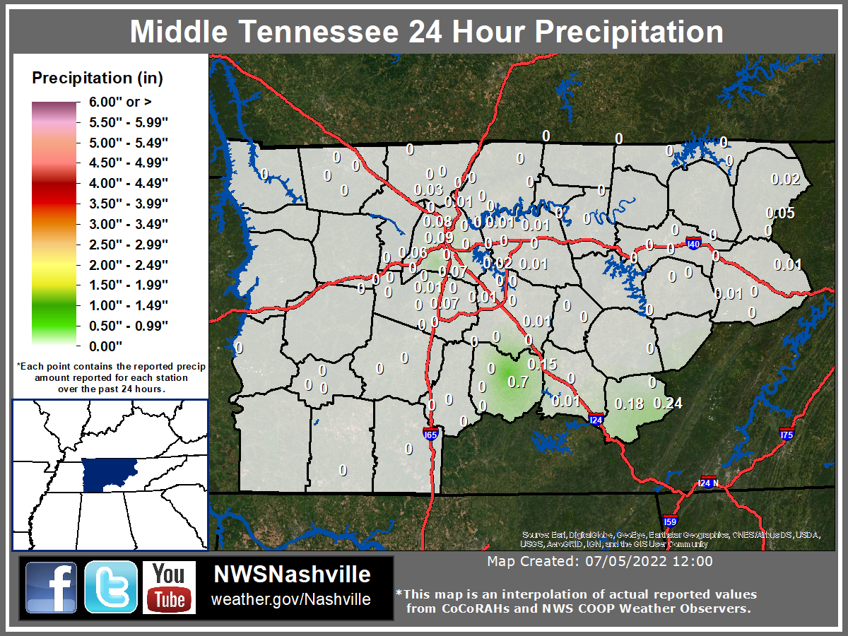 The latest daily rainfall map for Middle Tennessee
