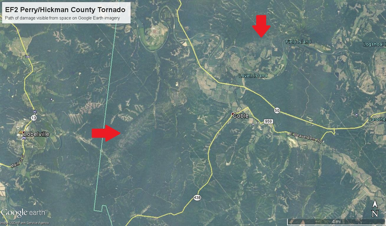 EF2 Hickman Tornado path from space
