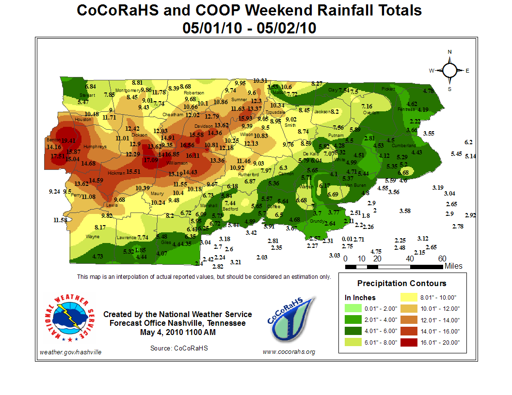 Middle Tennessee Rainfall Map
