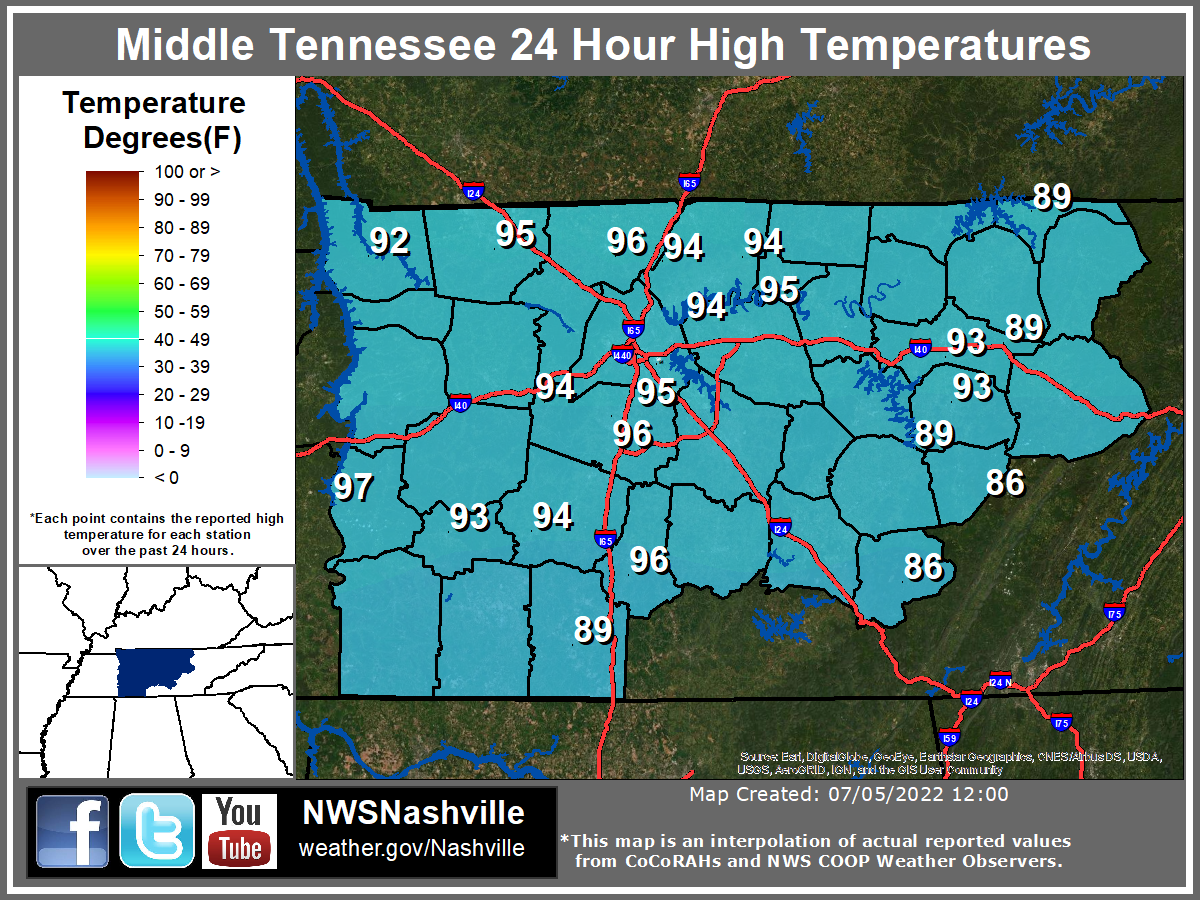 Low Temperatures across Middle Tennessee