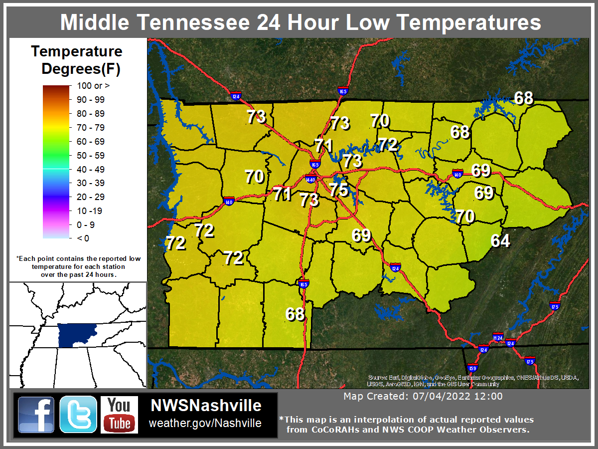 High Temperatures across Middle Tennessee