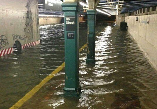 Flooded NYC subway during Hurricane Sandy