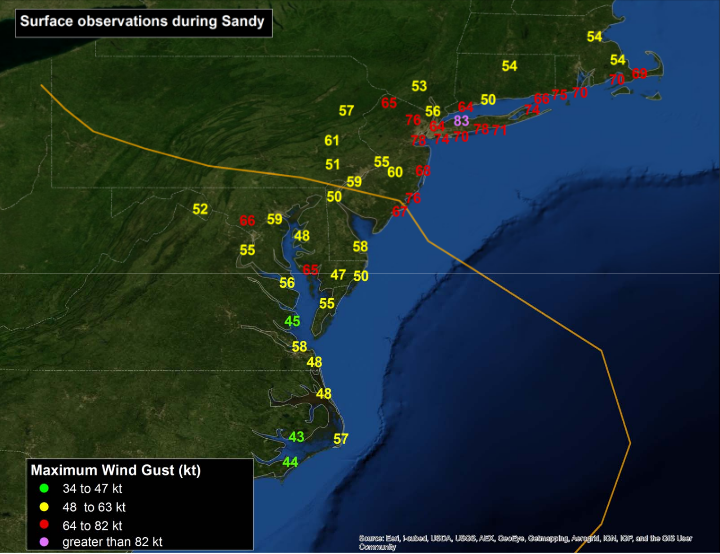 highest gusts recorded during Sandy