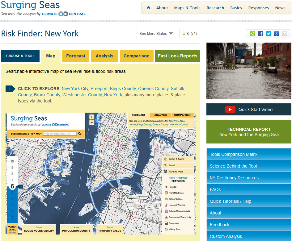 Climate Central - Surging Seas - Coastal Flood Viewer and Risk Finder