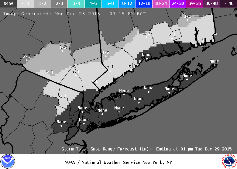 Image of NWS New York Storm Total Snow Forecast