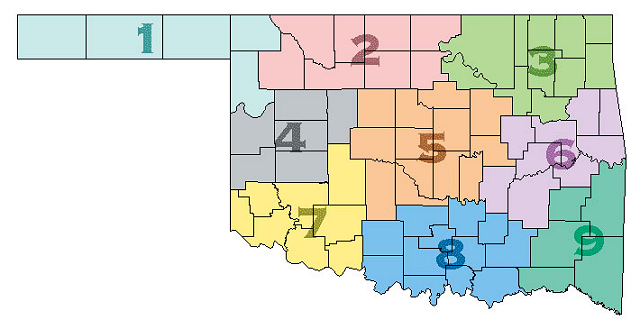 Oklahoma Climate Division Map