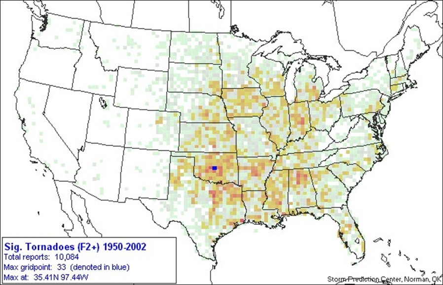 Severe Weather Climatology Storm Spotter Resources - Map of tornado frequency in us