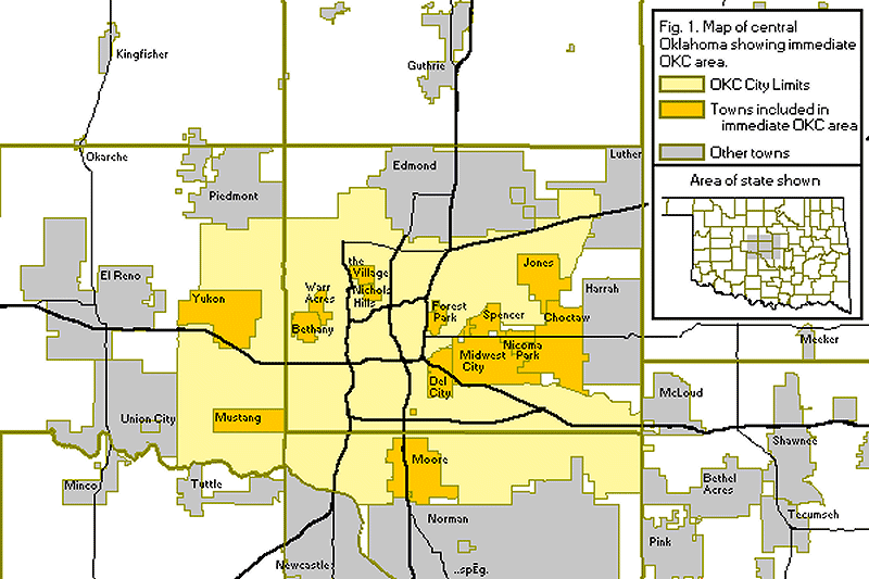 Figure 1: Map of central Oklahoma showing immediate Oklahoma City, Oklahoma area.