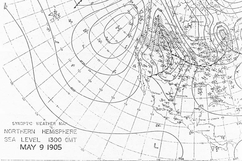 8:00 am CST May 9, 1905 U.S. Weather Burea Surface Analysis