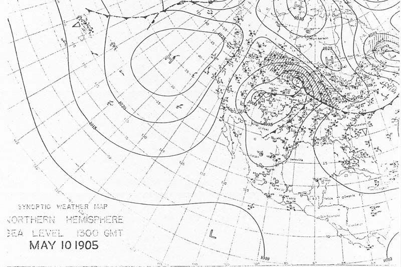 8:00 am CST May 10, 1905 U.S. Weather Burea Surface Analysis