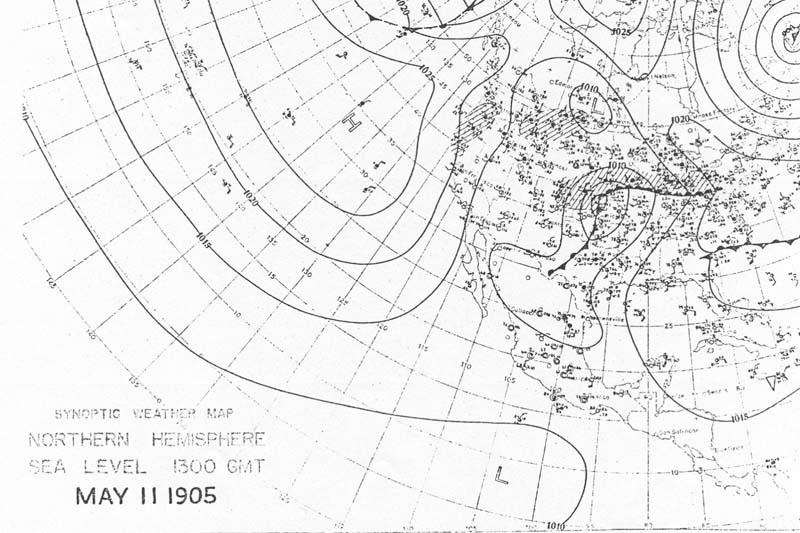 8:00 am CST May 11, 1905 U.S. Weather Burea Surface Analysis