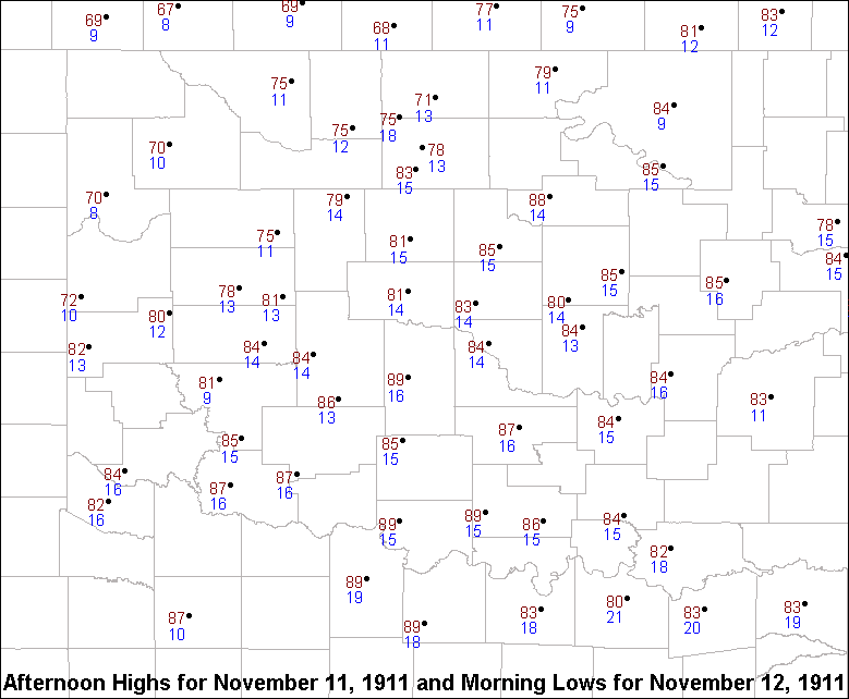 Afternoon Highs and Morning Lows for November 11-12, 1911