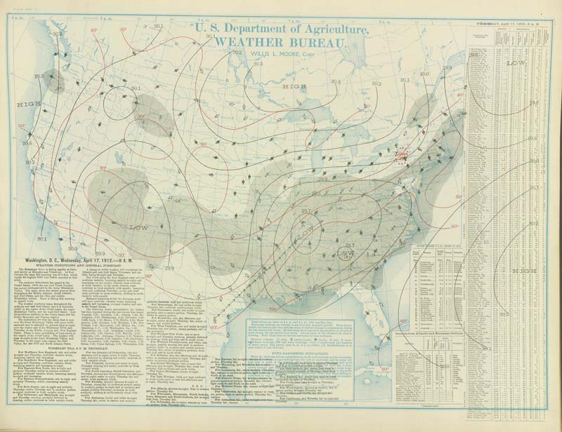 united states weather bureau map Weather Maps of the United States for Mid to Late April 1912 for