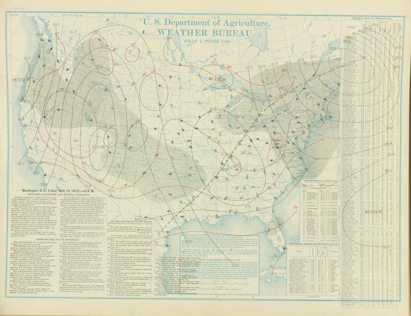 Weather Maps of the United States for Mid to Late April 1912 for the ...