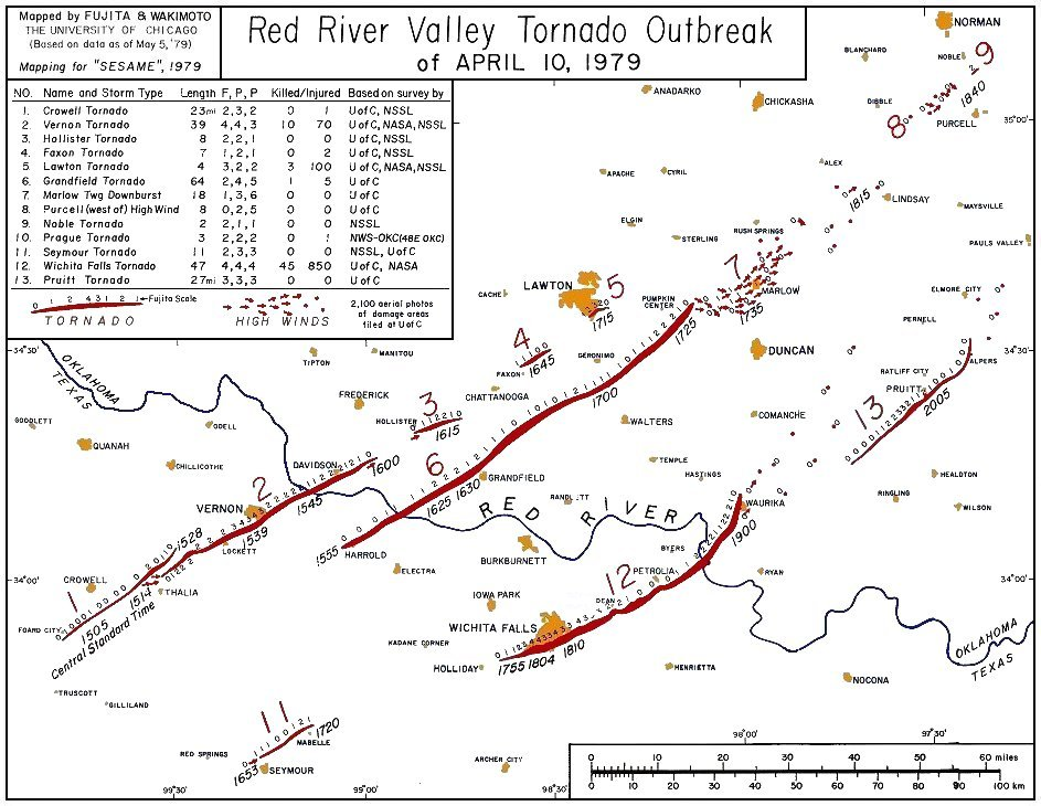 Maps Figures And Diagrams Of The Red River Tornado Outbreak Of 10